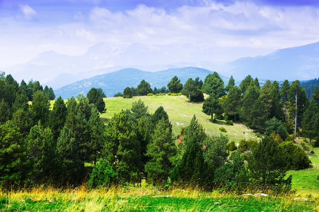 Paysage de montagnes typiques dans les pyrénées