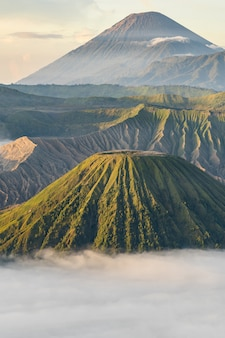 Paysage montagneux avec brouillard