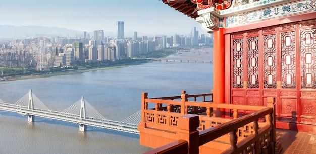 Paysage de nanchang, vue depuis le pavillon du tengwang, chine