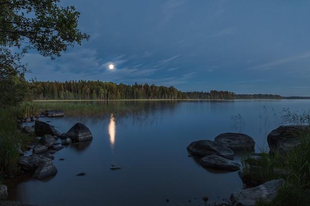 Paysage naturel illuminé par la lune