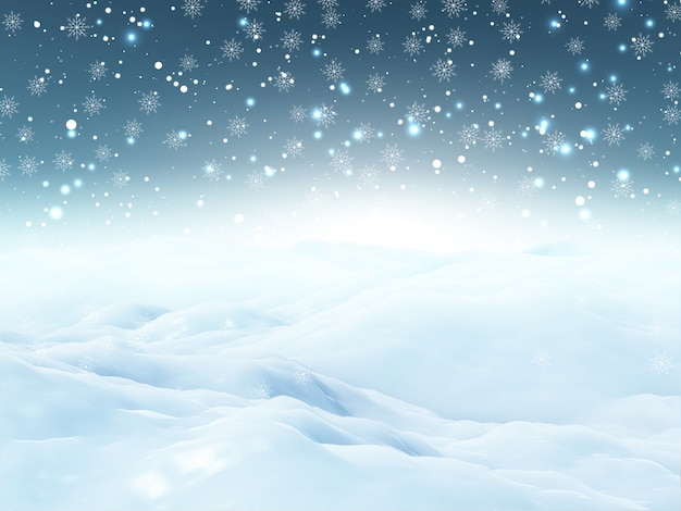 Paysage de neige 3d de noël