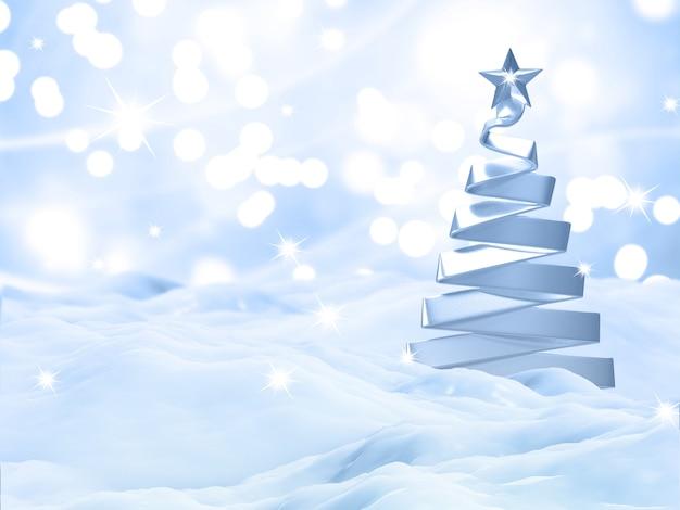 Paysage de neige de noël 3d avec arbre d'argent