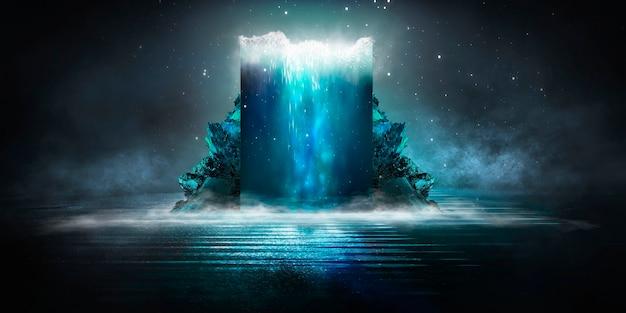 Paysage nocturne de fantaisie futuriste moderne avec des îles abstraites et un ciel nocturne avec des galaxies spatiales