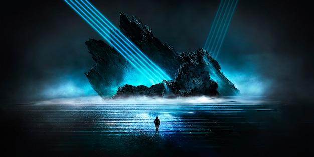 Paysage nocturne fantastique futuriste avec des îles abstraites et ciel nocturne avec des galaxies spatiales
