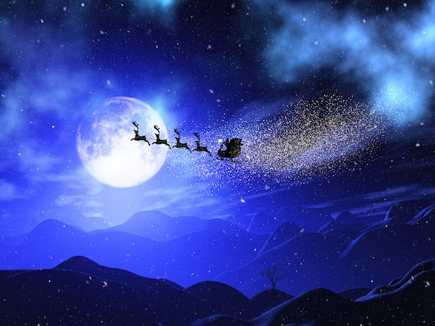 Paysage de noël 3d au clair de lune avec le père noël et les rennes dans le ciel