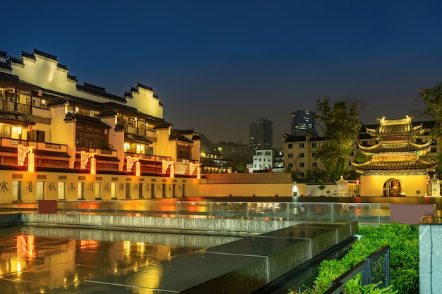 Paysage de nuit du temple de confucius à nanjing jiangsu province chine