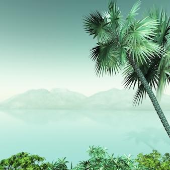 Paysage de palmier 3d