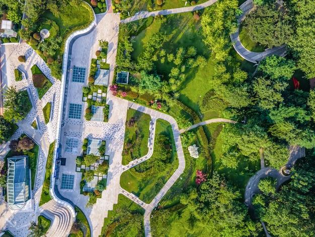 Paysage de parc de la ville de photographie aérienne