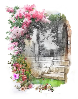 Paysage de peinture aquarelle de fleurs colorées abstraites. printemps avec bâtiments et murs