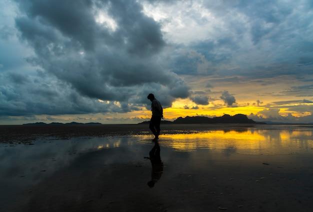 Paysage de plage tropicale avec coucher de soleil