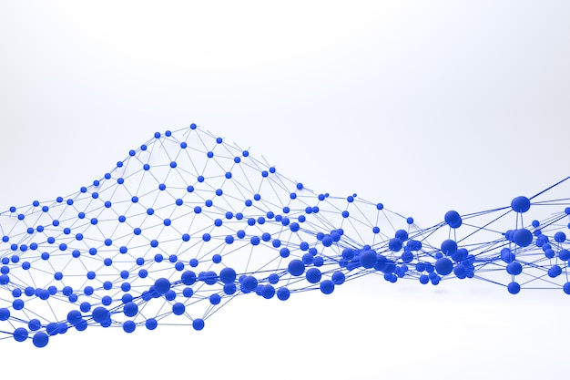 Paysage polygonal bleu rendu 3d sur fond blanc abstrait, low poly sur fond blanc