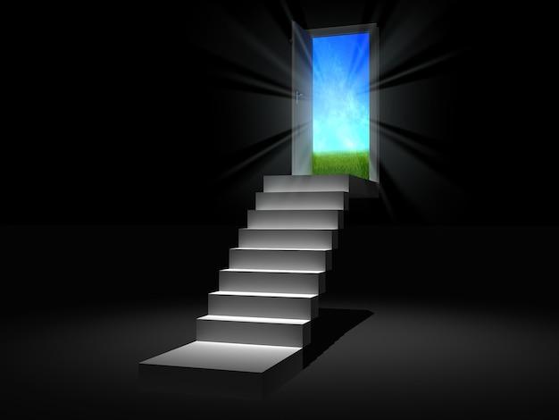 Paysage de porte magique derrière la porte qui s'ouvre 3d