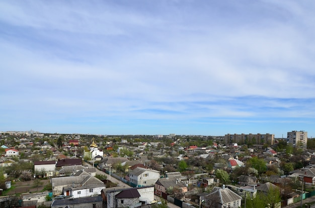 Paysage d'un quartier industriel de la ville de kharkov à vol d'oiseau