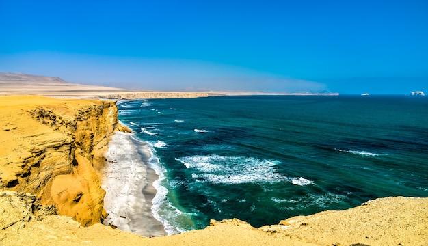 Paysage de la réserve nationale de paracas à l'océan pacifique au pérou