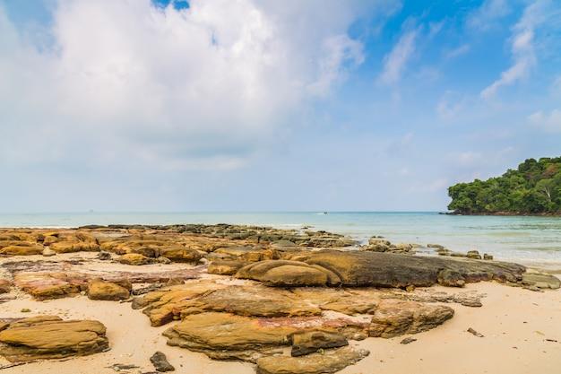 Paysage avec des rochers et mer calme