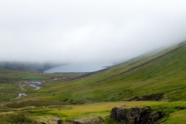 Paysage rural de mjoifjordur, à l'est de l'islande