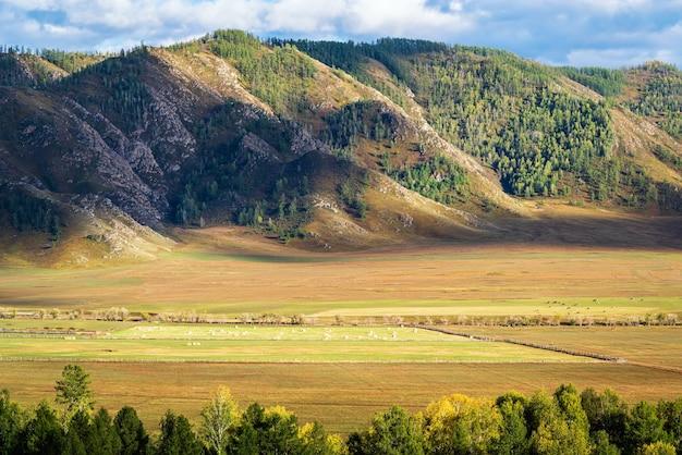 Paysage rural de montagne à l'automne russie montagne altaï