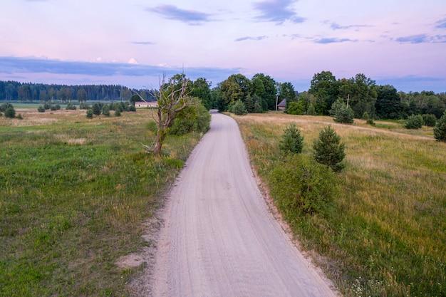 Paysage rural avec une route de gravier et un arbre mort sur le bord de la route au coucher du soleil