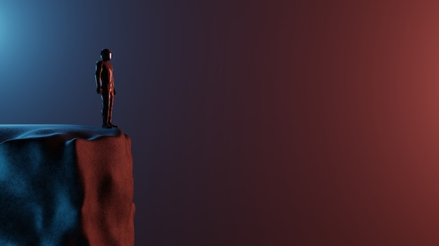 Paysage de science-fiction de rendu 3d un homme seul un astronaute se dresse au sommet d'une montagne