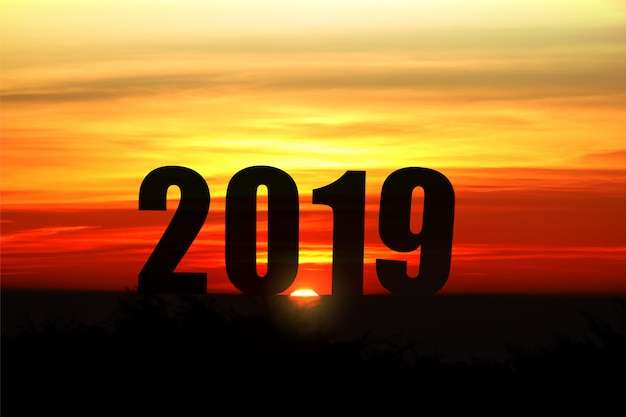 Paysage de silhouette avec la lumière du soleil et 2019 ans pour le fond de célébrer le nouvel an
