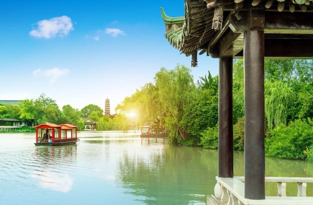 Paysage de slender west lake park, yangzhou, province du jiangsu