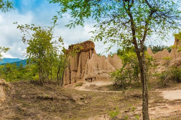 Paysage de sol texturé piliers, colonnes et falaises de grès érodés,