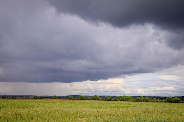 Paysage de terrain d'été. espaces ouverts russes. avant la tempête. ciel pluvieux sombre.