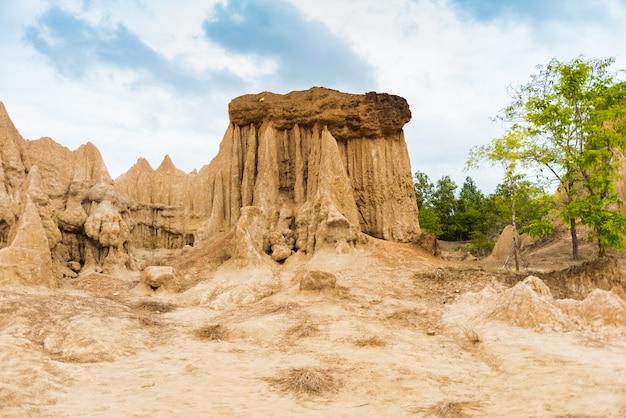 Paysage de textures de sol érodé de piliers, de colonnes et de falaises en grès,