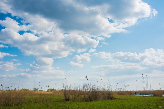Paysage ukrainien avec de beaux nuages spectaculaires