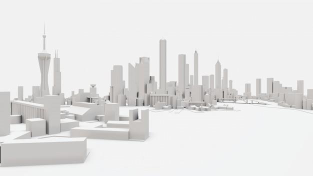 Paysage urbain en 3d de la ville moderne. l'immense tracé de la métropole. rendu 3d.