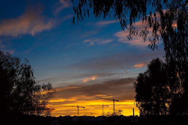 Paysage urbain au coucher du soleil avec des silhouettes de grues de construction