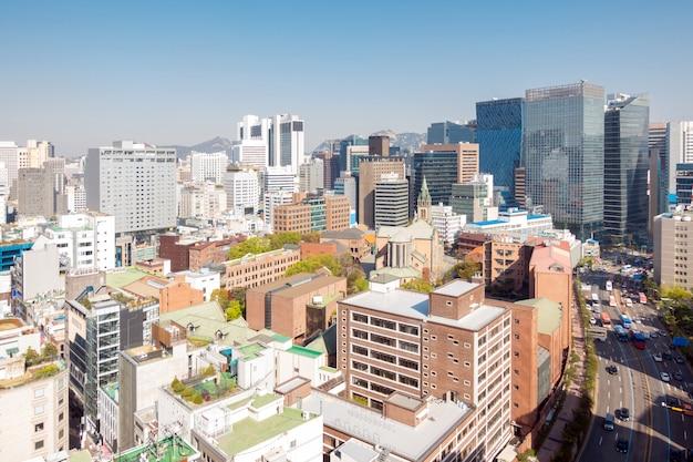 Paysage urbain du centre-ville de myeongdong en corée du sud