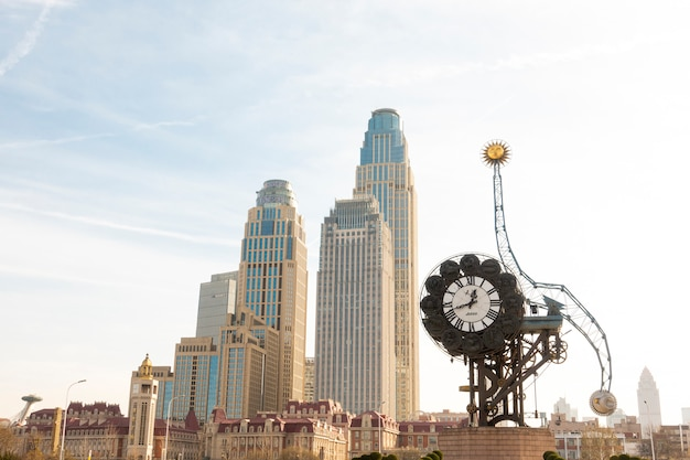 Paysage urbain du siècle d'horloge à tianjin