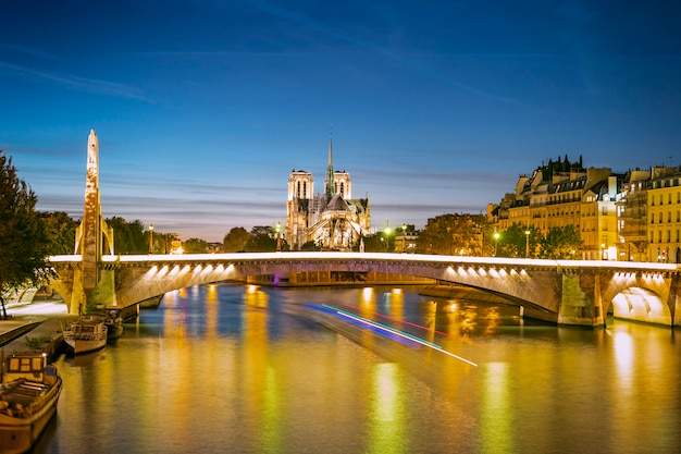Un paysage urbain de paris avec notre-dame et des ponts dans la soirée, france
