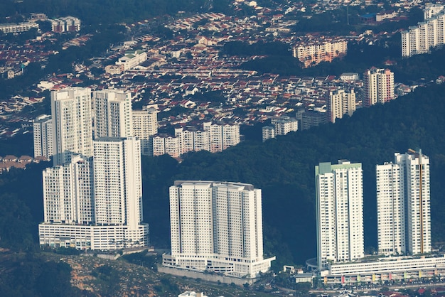 Paysage urbain de penang, vue depuis les collines de penang