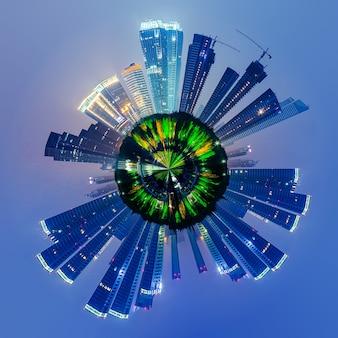 Paysage urbain avec petit effet planète