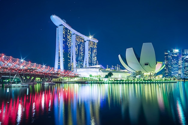 Paysage urbain de singapour la nuit