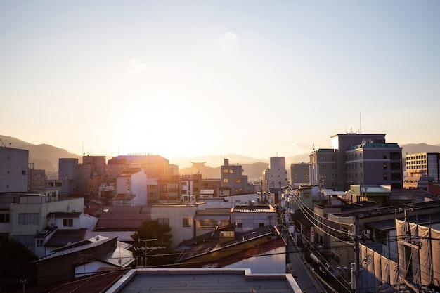 Paysage urbain, de, village ville montagne, à, takayama, japon
