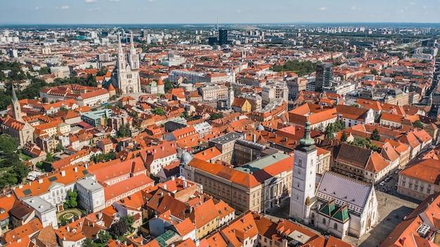 Paysage urbain de zagreb. vue aérienne