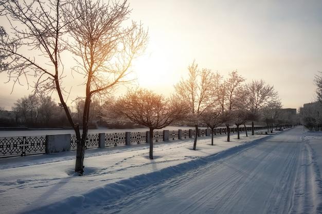 Paysage de ville enneigé d'hiver. beau ciel avec un soleil éclatant. route dans la neige