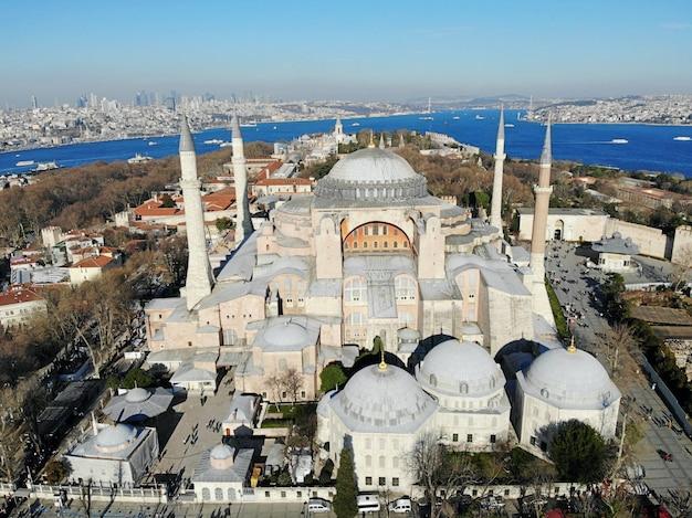 Paysage de la ville d'istanbul en turquie de la mosquée aya sofia