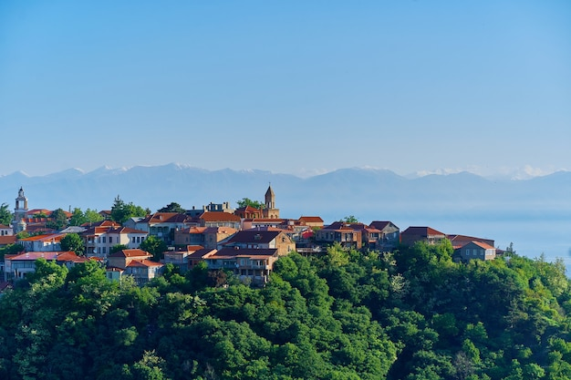 Paysage de la ville de sighnaghi. petite belle ville touristique de l'amour avec des maisons aux toits de tuiles rouges dans la région de kakheti, géorgie