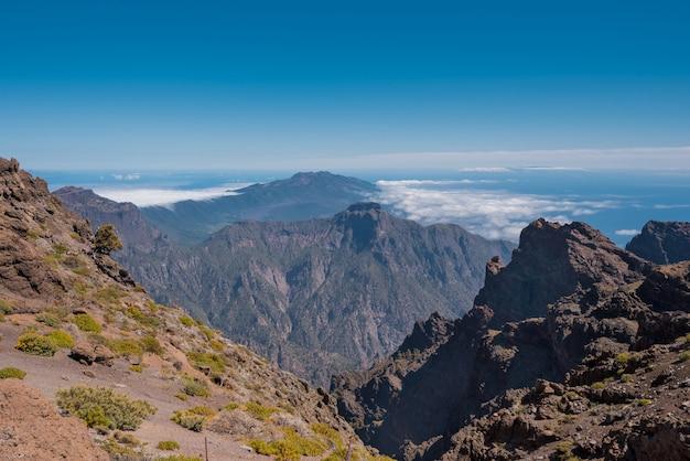 Paysage volcanique à roque de los muchachos, plus haut sommet de l'île de la palma, îles canaries