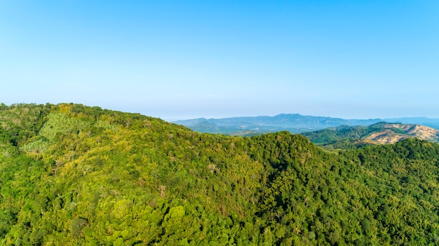 Paysage, vue nature, été, vue, montagnes, thaïlande vue aérienne, drone, coup
