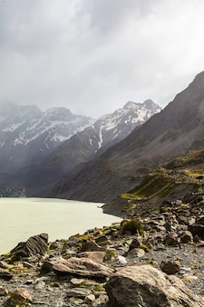 Paysages des alpes du sud hooker lake ile sud nouvelle zelande