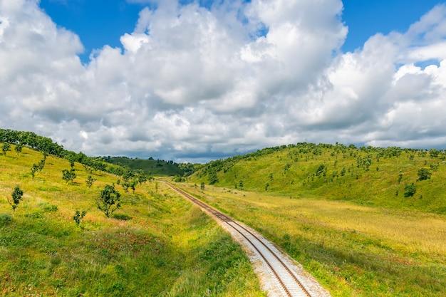 Paysages de chemin de fer et de la campagne avec des collines vertes et un ciel bleu
