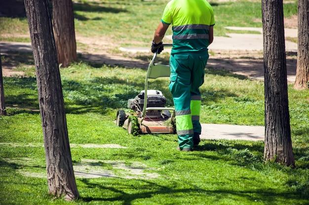 Paysagistes routiers en uniforme coupant l'herbe dans le parc à l'aide d'une tondeuse à gazon