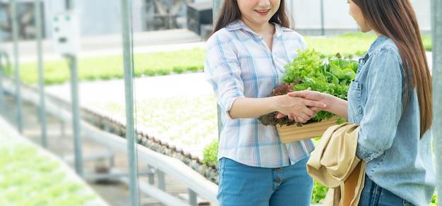 Paysanne, tenue, a, panier légume, et, serrer main, à, partenaire
