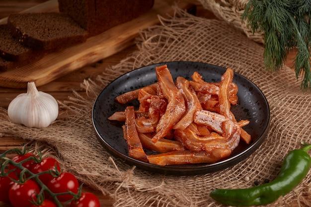 Peaux de porc de style coréen sur bois