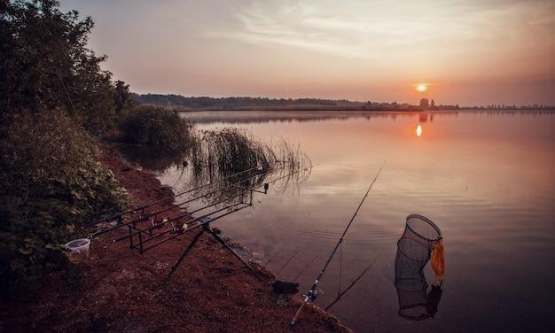 Pêche de nuit, cannes à carpe, cannes à pêche de près